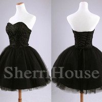 Beads Sweetheart Strapless Ball Gown Short Bridesmaid Celebrity Cocktail Dress ,Tulle Evening Party Prom New Homecoming Dress