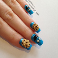 Japanese 3D cookie monster artificial nails