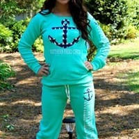 Anchor Sweatshirt Mint by Southern Fried Chics