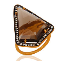 14-Karat Gold Plated Sterling Silver Ring With Faceted Smoky Quartz & Zircon