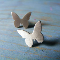 Butterfly earrings ,Butterfly Stud Earrings Sterling Silver Stud / Post Earrings.