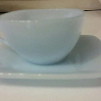 Pale Blue Azurite Milk Glass Square Cup and Saucer Beautiful Powder Blue Vintage Antique Collectible Glassware