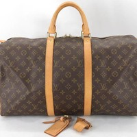 AUTH LOUIS VUITTON M41426 MONOGRAM KEEPALL 50 TRAVEL HAND BAG EY442