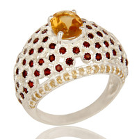 925 Sterling Silver Citrine And Garnet Gemstone Prong Set Dome Ring