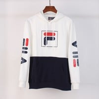 FILA autumn and winter tide brand couple models hooded loose hooded sweater