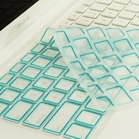 TopCase New Arrival Silicone Keyboard Cover Skin for Macbook Unibody Whtie 13-Inch/Macbook Pro Aluminum Unibody 13, 15, 17-Inch with or without Retina Display/Macbook Air 13-Inch/Old Macbook White 13-Inch/Wireless Keyboard with TopCase Mouse Pad (Aqua Blue
