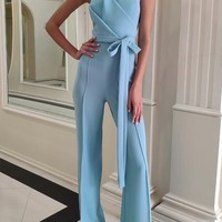 Light Blue Origami Strapless Jumpsuit