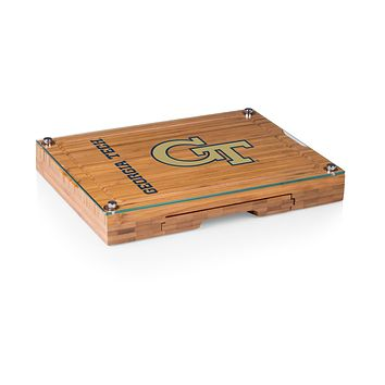 Georgia Tech Yellow Jackets - Concerto Glass Top Cheese Cutting Board & Tools Set, (Bamboo)