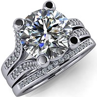 Dylan Round Center Stone Split Diamond Channel Setting