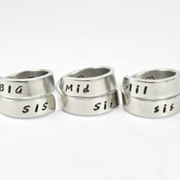 Big Sister Middle Sister Little Sister Wrap Rings, Three Sister Ring Set, Hand Stamped Sister Gift Ring, Love And Friendship Jewelry