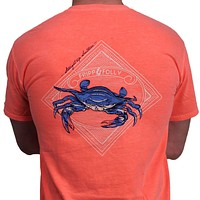 Blue Crab Tee in Neon Orange by Fripp & Folly