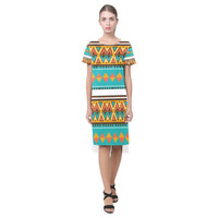 Tribal design in retro colors Short Sleeves Casual Dress(Model D14) | ID: D1144815
