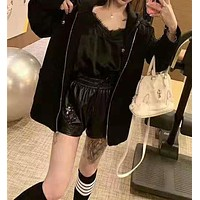 Women Fashion Letter Embroidery High Waist Wide Leg Shorts Leisure Pants Hot Pants