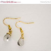 12 DAYS of CHRISTMAS SALE - Tourmalinated Quartz Black & White - Brass Wire Wrapped Earrings