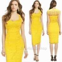 Floral Lace crochet Wear to Work OL Party Evening Prom Formal Bodycon Midi Dress
