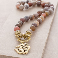 Om Vajra Botswana Agate Necklace