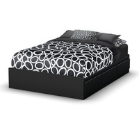 South Shore Storage Full Bed Collection 54-Inch Full Mates Bed, Pure Black