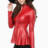 Chilly Red Faux Leather Zip Up Peplum Jacket