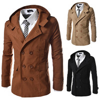 Double Breasted Slim Fit Trench Coat with Hood