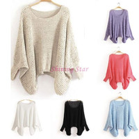 Fashion Women Batwing Tops Long Sleeve Loose Pullovers Knitted Sweater One Size = 1945696196