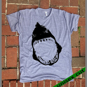 SHARK shirt. Shark Week. Shark lover. Grey Heather tri blend super soft t- shirt.hand print. Women Men clothing. Jaws. graphic t shirt