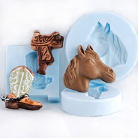 Cowboy boot, Saddle and Horse Head Silicone mold set, resin jewelry molds, polymer clay molds.