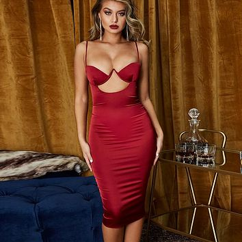 fhotwinter19 Explosive women's sexy sling hollow package hip dress with chest pad