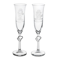 Minnie and Mickey Mouse Glass Flute Set by Arribas - Personalizable