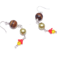 Brown jasper stone bead drop dangle earring Yellow Swarovski crystal ear ring Sterling silver hook earing Green glass pearl Orange flower