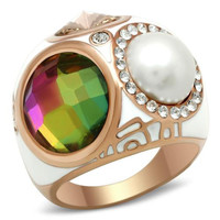 Rose Gold Multi Color CZ and Pearl Dome Ring