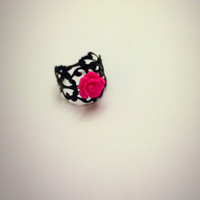 Fuchsia Rose Filigree Black Ring Floral Adjustable Statement Ring