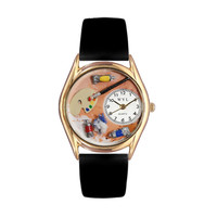 Artist Black Leather And Goldtone Watch