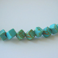 Stone Cube Beads Blue Magnesite 5mm Dice Natural Semiprecious Full Strand Turquoise Wholesale Jewelry Supplies Supply CrazyCoolStuff