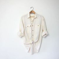vintage minimalist shirt. cotton button up shirt. white cream top. modern minimalist. oversized boyfriend shirt.