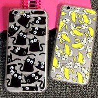 3d black cat and bananahandmade case cover for iphone 7 7 plus and iphone se 5s 6 6s plus gift box  number 1