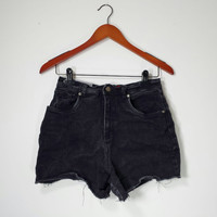 High Waisted Denim Shorts - Black ULTRA High Waist Jean Shorts - Cuff or Uncuff - Jeans Shorts Size US 8