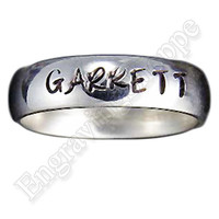 CUSTOM Couples Ring NAME RING Personalized Ring Hand Stamped Ring Wedding Band Promise Ring Stainless Steel Ring, 5mm Low Dome Polished Ring