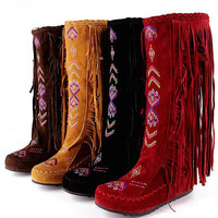 Fashion Leather Women Fringe Flat Heels Long Boots Woman Spring Autumn Tassel Knee High Boots