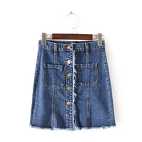 Women's Fashion Summer High Rise With Pocket Tassels Denim Skirt [4920257156]