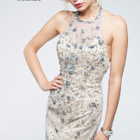 KC14224 Homecoming Cocktail Dress Nude Beaded by Kari Chang Couture SALE $189