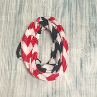 Red & Black Chevron Jersey Knit Infinity Scarf