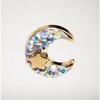 Gold-Plated Crescent Moon Cartilage Earring - 18 Gauge - Spencer's