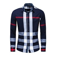 Casual Vertical Plaid Shirts Mens  Men's Shirt  Long Sleeve Casual Slim Fit Shirts