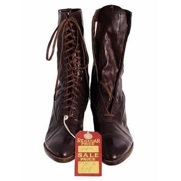 Antique Vintage Victorian Leather Boots Girls/Womens Dark Brown  1910 Sz 5  Buster Brown