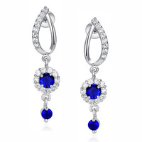 Flora Drop Blue and Clear Round Cubic Zirconia Earrings