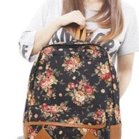 Sweet Floral Print Leisure Canvas Backpack