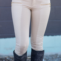 Quilted Leather Zipper Front Leggings (Sand)