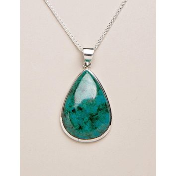 Chrysocolla Teardrop Pendant - One of a Kind
