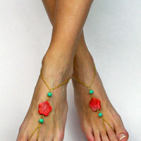Mint Green and Coral Barefoot Sandals