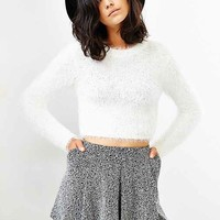 MINKPINK Freckles Fuzzy Cropped Sweater- White